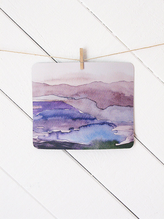 watercolor purple mousepad